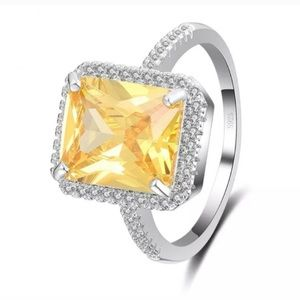 Beautiful new stamped S925 citrine ring silver